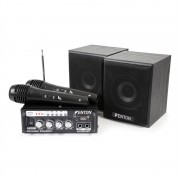 Fenton AV380BT Set Amplificatore per Karaoke USB SD BT 2 x Altoparlante 2 x Microfono