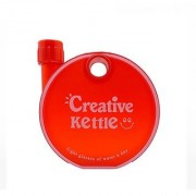 GOODLUCK Round Flat Plastic Notebook Water Bottle (RED Color Shape 350 ml)