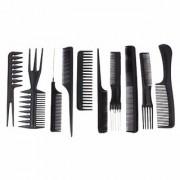 Kushahu 10Pcs Pro Salon Hair Cut Styling Hairdressing Barbers Combs Brush Set Black