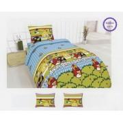 Lenjerie de pat copii Angry Birds fundal verde