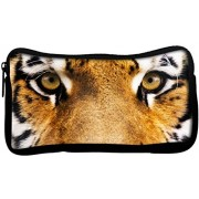 Snoogg Tiger Eyes Poly Canvas Student Pen Pencil Case Coin Purse Utility Pouch Cosmetic Makeup Bag