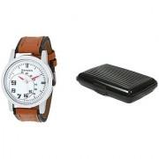 Danzen wrist watch for mens with Black card case -cdz-419