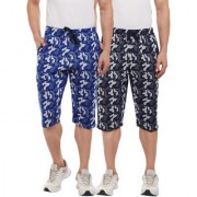 Vimal-Jonney Royal Blue Camouflage And Navy Blue 3/4th For Men(Pack Of 2)