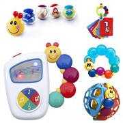 Baby Einstein 9-Piece Essentials Bundle - Take Along Tunes, Shake & Teethe, Caterpillar Rattle and T