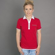 Női póló póló 6506 -ban piros szín fehér gallér