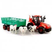 KidzFan Farmer Friction Tractor Trolley Toy for Kids Heavy Duty With Animal Toys Horse-Cow-sheep