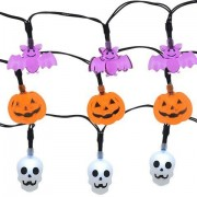 LED Lights 10 Count Toddlers Kids Jack O Lantern Scary Spooky Creepy Turkey Harvest Halloween Party Indoor Outdoor Decoration Decorations Decor Haunted House Skull Bat Pumpkins Bundle of 3