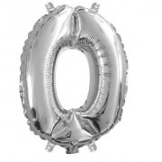 Stylewell Solid Silver Color Single Number Zero (0) 3d Foil Balloon for Birthday Celebration Anniversary Parties