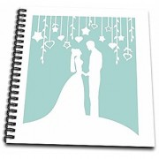 3dRose db_120282_2 Classy Bride and Groom White Silhouettes on Mint Pastel Blue Memory Book 12 by 12-Inch