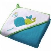 Бебешка велурена кърпа за баня с качулка - синя, 138 02 Babyono, 7930055
