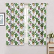 GUUVOR Cortina oscurecedora Cactus con patrón de follaje botánico Inspirado en los Elementos Tropicales, 2 Paneles, Amarillo, Verde, Verde, Color08, W21 x L72 Inch x2, 1