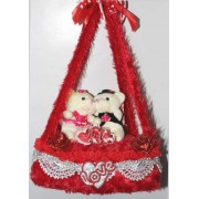 Red Bed Hanging Jhoola with Love Couple Teddy Bears