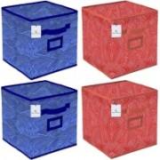 Billion Designer Laheriya Design Non Woven 4 Pieces Large Foldable Storage Organiser Cubes/Boxes (Blue & Orange) - BILLION36110 BILLION036110(Blue & Orange)