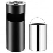 vidaXL Хотелски кош-пепелник, 30 л, стомана, черен
