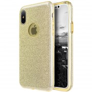 Funda Case Para IPone X (iPhone 10) Doble Protector De Plastico Con Brillos Luxury - Gold