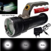 3 Mode 1000 Meter Long Beam Waterproof Rechargeable Metal LED Flashlight Torch Outdoor Lamp Light Emergency Light 18W