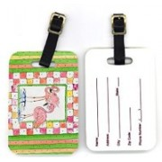 Caroline's Treasures 8077BT 4 x 2.75 in. Pair of Bird Flamingo Luggage Tag(Multicolor)