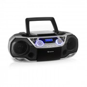 Auna Roadie 2K, boombox, CD плейър, касетно радио, DAB / DAB +, UKW, bluetooth, сребърен (MG3-Roadie 2K SI)