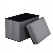 Сгъваема табуретка с място за съхранение [en.casa]® ,48cm x 32cm x 32cm, Сива