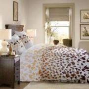 Lenjerie de pat Dormisete bumbac 100 Loving Matisse Bej pentru pat 2 persoane 4 piese 180x215 / 50x70 cearceaf pat uni cafeniu Butterum