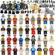 Education Community Minifigures Set of 44 Figures + Weapons set Building Bricks Community Mini People and Accessories (44FIGURES+WEAPON)