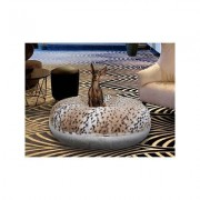 Bessie + Barnie Signature Extra Plush Faux Fur Animal Print Bagel Dog & Cat Bed, Aspen Snow Leopard/Snow White, Medium