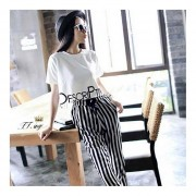 Short Sleeve T-Shirts + Striped Haren Pants Casual Suits Female Leisure Sets Black&white