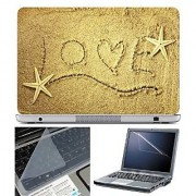 FineArts Laptop Skin Live on Sand With Screen Guard and Key Protector - Size 15.6 inch