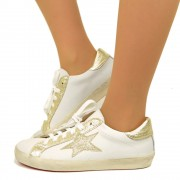 Sneakers Donna Bianche Stella in Glitter Oro Made in Italy T: 36, 37, 38, 39, 40