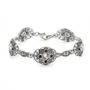 Bransoletka srebrna z kryształami Swarovskiego L 1809 : Kolor - Jet