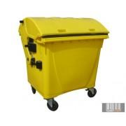 Külső hulladéktároló, Gömbölyű fedelű műanyag konténer - 1100 L sárga színben HUL-0014-4