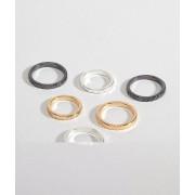 ASOS DESIGN - Set med midi ringar präglade med aztec-mönster och blandade metaller - Flerfärgad