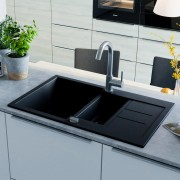 vidaXL fekete, kétmedencés gránit mosogatótálca