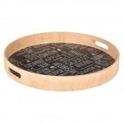 Emako Dřevěný podnos, snídaňový podnos, zásobník na servírování jídel - Ø 40 cm