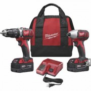 Milwaukee M18 Lithium-Ion Cordless Power Tool Set - 1/2 Inch Hammer Drill/Driver & 1/4 Inch Hex Impact Driver, With 2 Batteries, Model 2697-22, Red