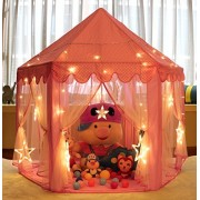 MonoBeach Princess Tent for Girls Indoor and Outdoor Hexagon Play Castle House with 20 Feet Decorative LED Star Lights