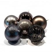 Decorațiuni Crăciun - 6 globuri negre, diametru 10 cm