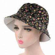 Qhome cap Qhome Womens Fashion Sun Hat Cotton Flower Floral Pattern Bucket Hats