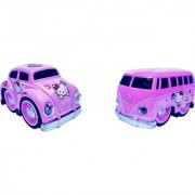 Emob Pull Back Pink Cartoon Printed Metal Model Car and Van Toy with Light and Sound Features (Multicolor)