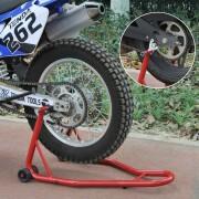 HOMCOM Caballete de Moto Soporte Trasero Universal Portátil y Móvil – Color Rojo – Acero – 80 x 50 x 40cm