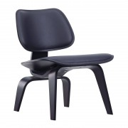 Vitra LCW leather loungestoel zwart leder
