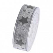 Szalag glitteres csillagokkal 25mmx20m ezüst