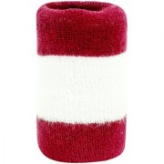 Neska Moda Unisex Pack Of 1 Maroon And White Striped Cotton Wrist Band WB43