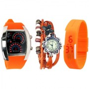 Combo of Jack Klein Stylish Analog And Digital Wrist Watches MTR LED-ORG VNT-ORG LED-ORG