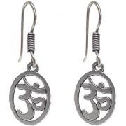 Lucky Jewellery Designer Black Metal Silver Oxidised Om Earring
