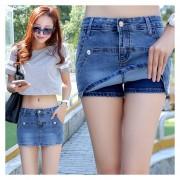 Pantalones Cortos /Falda Pantalón Falso Dos Piezas Shorts Para Mujer - Azul Oscuro