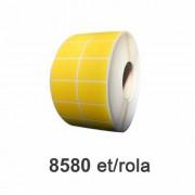 Destruktív PE címkék, sárga, 50x32mm, 8580 címke/tekercs