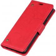 Mobigear Copper Buckle Retro Wallet Hoesje Rood Nokia 8.1