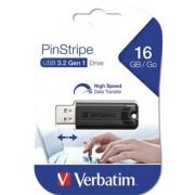 Pendrive, 16GB, USB 3.0, VERBATIM Pinstripe, fekete (UV16GPF3)