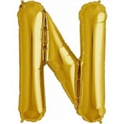 Stylewell 16 Inch Alphabet (N) Soild (Golden) Color 3D Foil Balloons For Birthday And Anniversary Parties Decoration